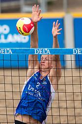 Christiaan Varenhorst in action. The DELA NK Beach volleyball for men and women will be played in The Hague Beach Stadium on the beach of Scheveningen on 22 July 2020 in Zaandam.