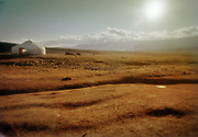 Landscape in Mongolia with a yurt, the nomadic tent.
