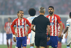 May 16, 2018 - Lyon, France - Antoine Griezmann (L) and Diego Costa during the UEFA Europa League final football match between Olympique de Marseille and Club Atletico de Madrid at the Parc OL stadium in Decines-Charpieu, near Lyon on May 16, 2018. (Credit Image: © Matteo Ciambelli/NurPhoto via ZUMA Press)
