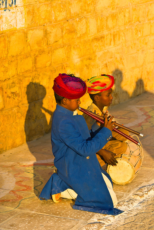 Boys performing on a street in Jaisalmer, Rajasthan, India
