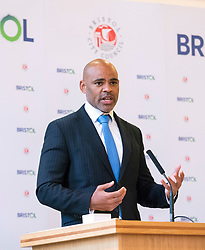 © Licensed to London News Pictures; 10/05/2021; Bristol, UK. Bristol Mayor MARVIN REES gives a speech at his inauguration in City Hall after he was re-elected as the Mayor of Bristol for a second term. Photo credit: Simon Chapman/LNP.