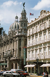 View across the Paseo Jose Marti in Havana; Cuba; with the Hotel Inglaterra; Gran Teatro and Capitolio,