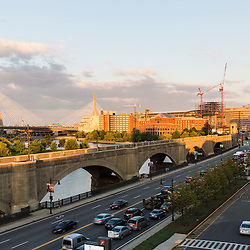 View of the Zakim Bridge across the Charles River from the parking garage at the Museum of Science in Boston, Massachusetts.