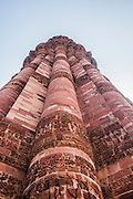 Close up of the 70m Qutb Minar, Qubbat-ul-Islam Mosque, Delhi, India