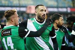 January 19, 2018 - Brugge, BELGIUM - Cercle's Irvin Cardona and Cercle's Jeremy Taravel celebrate after scoring during a soccer game between Cercle Brugge KSV and Lierse SK, Friday 19 January 2018, on day 23 of the division 1B Proximus League competition of the Belgian championship. BELGA PHOTO KURT DESPLENTER (Credit Image: © Kurt Desplenter/Belga via ZUMA Press)