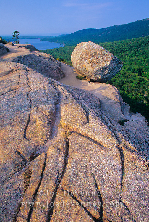 Balance Rock in Acadia national park. Mount Desert Island. Maine