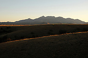 Mount Wrightson emerges from the grasslands of southern Arizona near Sonoita.  The Santa Rita Mountains are a Sky Island in the Coronado National Forest in the Sonoran Desert, USA.