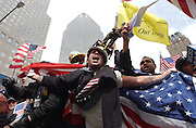 Rocking Ray Fiore of Brooklyn, screams USA as he is a supporter of the US troops and the war with Iraq at a pro-war rally near Ground Zero in Manhattan, NY. 4/10/2003 Photo by Jennifer S. Altman