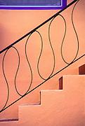 An Art Deco railing on a small Miami Beach apartment house.<br /> <br /> .