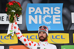 March 10, 2018 - Valdeblore La Colmiane, FRANCE - Belgian Thomas De Gendt of Lotto Soudal celebrates on the podium in the red polka-dot jersey for best climber after the seventh stage of the 76th edition of Paris-Nice cycling race, 175km from Nice to Valdeblore La Colmiane, France, Saturday 10 March 2018. The race starts on the 4th and ends on the 11th of March. BELGA PHOTO DAVID STOCKMAN (Credit Image: © David Stockman/Belga via ZUMA Press)
