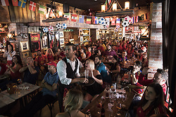 July 1, 2018 - Miami Beach, FL, USA - Soccer fans gathered at Tapas and Tintos, a restaurant in Miami Beach, Fla. to watch Spain take on Russia during the 2018 FIFA World Cup Round of 16 knockout stage on Sunday, July 1, 2018. After the score being tied 1-1 at the end of extra time, Russia won, 4 penalty kicks to 3. (Credit Image: © Ellis Rua/TNS via ZUMA Wire)