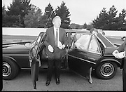 Charles Haughey Votes in Referendum..1983.07.09.1983.09.07.1983.7th September 1983..Image of Mr Charles Haughey, and his wife Maureen, arriving at Kinsealy National School in order to cast their votes in the referendum. ..The referendum was a constitutional amendment with regard to the life of the unborn... It was a divisive campaign with much debate, charge and countercharge by both sides of the argument..Those in the Yes campaign won the day with a vote of 841,233 to a no vote of 416,136.