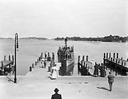 """0012-1 Ferry dock on Lake Minnetonka, near Minneapolis, Minnesota. The """"Stillwater"""" is taking on passengers for Wayzata, Fairview, Lynnwood, Summerville, Cottagewood, Deephaven, Wayzata. ca. 1906."""