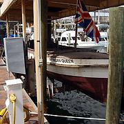 """Vakantie Miami Amerika, de beroemde boot de """"African Queen"""" uit de film met Humphrey Bogart in de haven van Key Largo Florida"""