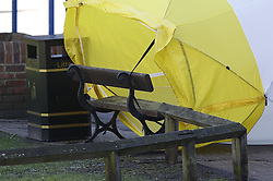© Licensed to London News Pictures. 08/03/2018. Salisbury, UK. Salisbury. The police forensics tent protecting the bench where Former Russian spy Sergei Skripal was taken ill has blown over. Former Russian spy Sergei Skripal, his daughter Yulia and a policeman are still critically ill after being poisoned with nerve agent. The couple where found unconscious on bench in Salisbury shopping centre. Authorities continue to investigate. Photo credit: Peter Macdiarmid/LNP