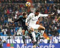 Real Madrid's Danilo Luiz da Silva (r) and Real Sociedad's Kevin Rodrigues during La Liga match. January 29,2017. (ALTERPHOTOS/Acero)