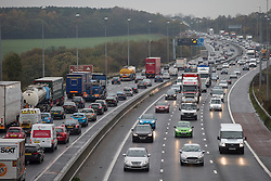© Licensed to London News Pictures . 11/11/2013 . Manchester , UK . Traffic on the M6 motorway this morning , just south of Junction 27 . A man has died after he was hit by a car on the M6 , after being pursued by police in Blackpool . It is reported that he pulled over on the hard shoulder between junctions 27 and 28 and was crossing the carriageway when he was hit by a car . Lancashire police say they had called off a ground pursuit on the man and were monitoring him from the air using the force helicopter. The M6 motorway is closed in both directions between J27 and J28 near Shevington as police investigate . Photo credit : Joel Goodman/LNP