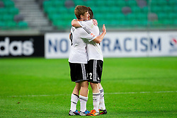 Timo Werner of Germany and Pascal Itter of Germany celebrate after the UEFA European Under-17 Championship Group A match between Iceland and Germany on May 7, 2012 in SRC Stozice, Ljubljana, Slovenia. Germany defeated Iceland 1-0. (Photo by Vid Ponikvar / Sportida.com)