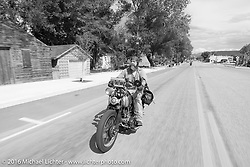 Robert Hernandez had a great day riding Craig Jackman's 1936 HD VLH Twin Carb that he built for Craig to ride on the Cannonball, show here near Grand Junction, Colorado during Stage 10 (278 miles) of the Motorcycle Cannonball Cross-Country Endurance Run, which on this day ran from Golden to Grand Junction, CO., USA. Monday, September 15, 2014.  Photography ©2014 Michael Lichter.