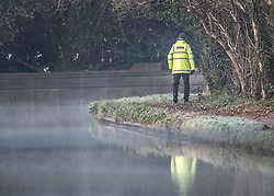 © Licensed to London News Pictures. 04/12/2019. Watford, UK. A police officer guards the banks of the River Gade in the grounds of The Grove Hotel where NATO leaders are meeting. World leaders are attending a series of events over the two day NATO summit which will mark the 70th anniversary of the alliance of nations. Photo credit: Peter Macdiarmid/LNP
