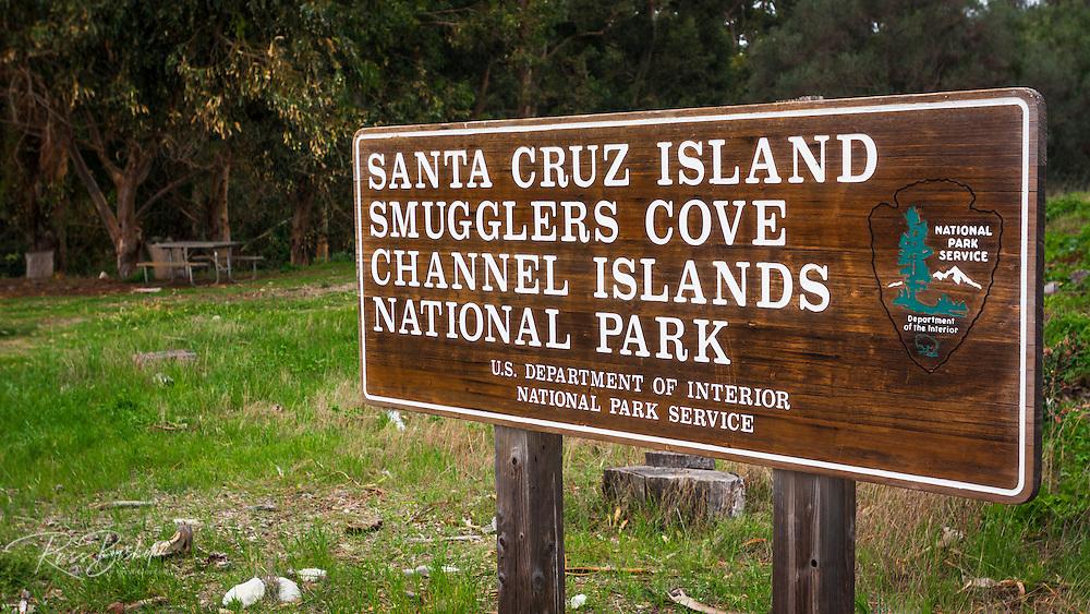 Sign at Smugglers Cove, Santa Cruz island, Channel Islands National Park, California USA