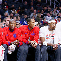16 December 2015: Los Angeles Clippers guard Pablo Prigioni (9), Los Angeles Clippers guard Jamal Crawford (11), Los Angeles Clippers forward Wesley Johnson (33), Los Angeles Clippers forward Paul Pierce (34) and Los Angeles Clippers center Josh Smith (5) are seen on the bench during the Los Angeles Clippers 103-90 victory over the Milwaukee Bucks, at the Staples Center, Los Angeles, California, USA.