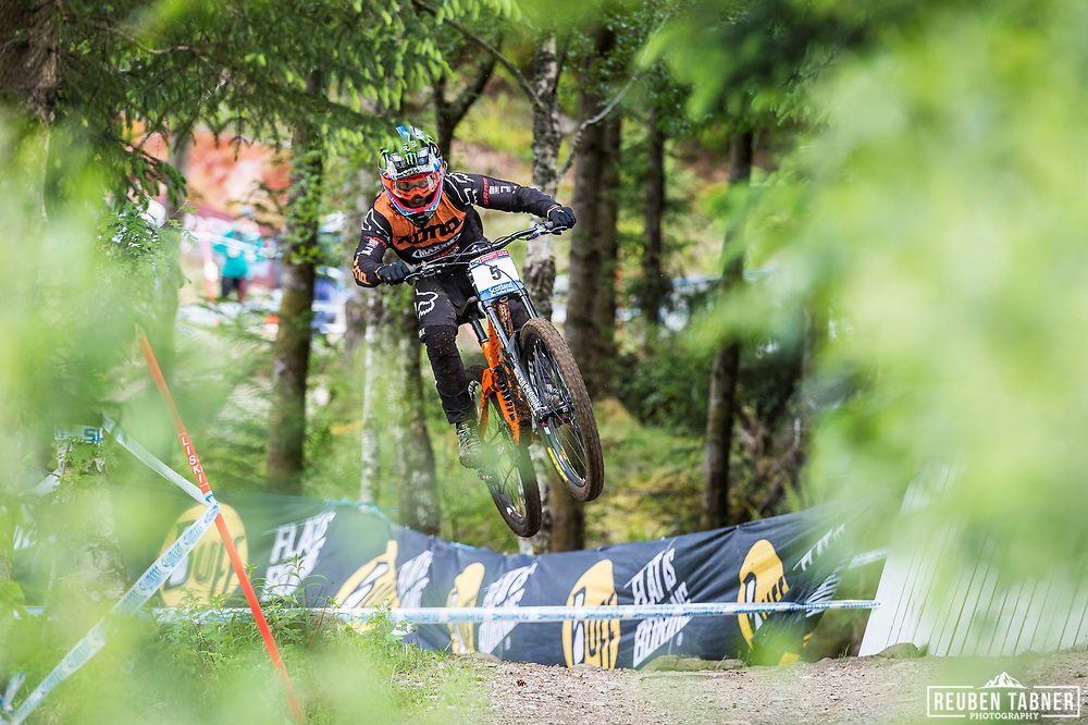 Connor Fearon takes flight during his race run at the UCI Mountain Bike World Cup in Fort William.