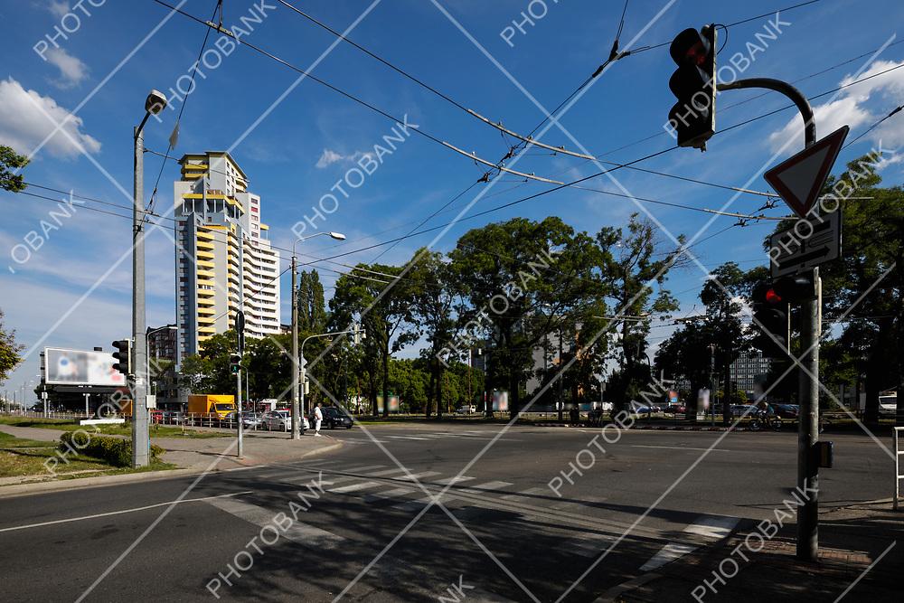 Crossroad and traffic light in Bratislava
