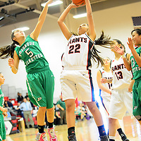 121413  Adron Gardner/Independent<br /> <br /> Pojoaque Elkette Aaliya Casados (5), left, guards as Grants Pirate Shandeen Cata (22) takes the final shot of the game during the Eddie Peña Classic Basketball Tournament in Grants Saturday.
