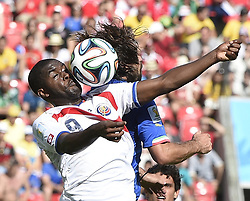 June 20, 2014 - Recife, Brazil - Costa Rica's JOEL CAMPBELL (L) competes for a header during a Group D match between Italy and Costa Rica of 2014 FIFA World Cup at the Arena Pernambuco Stadium. Costa Rica defeated Italy 1:0. (Credit Image: © Xinhua via ZUMA Wire)