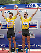 Lucerne, SWITZERLAND.  GBR LM2X, Left , Zac PURCHASE and Mark HUNTER celebrate the gold medal in the lightweight Men's double Sculls on the finals day, at the  2008 FISA World Cup Regatta, Round 2.  Lake Rotsee, on Sunday, 01/06/2008.  [Mandatory Credit:  Peter Spurrier/Intersport Images].Lucerne International Regatta. Rowing Course, Lake Rottsee, Lucerne, SWITZERLAND.