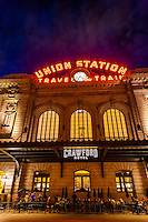 Exterior view of the newly renovated Union Station in Downtown Denver, Colorado USA.