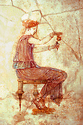 ITALY, ROMAN CULTURE National Museum of Rome collections; Roman Fresco from the classical period 1stC BC shows woman using perfume