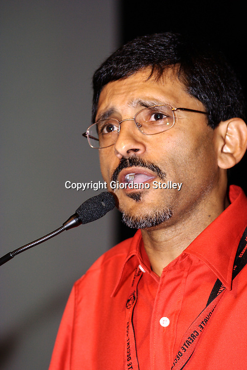 DURBAN - 11 August 2007 - Ibrahim Patel, the secretary of the South African Clothing and Textile Workers Union addresses delegates at the union's 10th Congress, held in the International Convention Centre in Durban..Picture: Giordano Stolley/Allied Picture Press