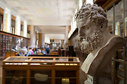 The bust of mythical Hercules, a Roman copy of the ancient Greek original by Lysippos (of about 325-300BC) overlooks the Enlightenment Gallery of the British Museum on 28th February 2017, in London, England. The Roman version is said to have been found in lava at the foot of Vesuvius and presented to the museum by Sir William Hamilton in 1776. Hercules is the Roman adaptation of the Greek divine hero Heracles,  the son of Zeus (Roman equivalent Jupiter) and the mortal Alcmene. In classical mythology, Hercules is famous for his strength and for his numerous far-ranging adventures.