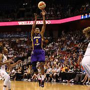 Alana Beard, Los Angeles Sparks, shoots during the Connecticut Sun Vs Los Angeles Sparks WNBA regular season game at Mohegan Sun Arena, Uncasville, Connecticut, USA. 3rd July 2014. Photo Tim Clayton