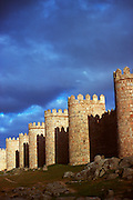 SPAIN, CASTILE, AVILA medieval walls encircle the town