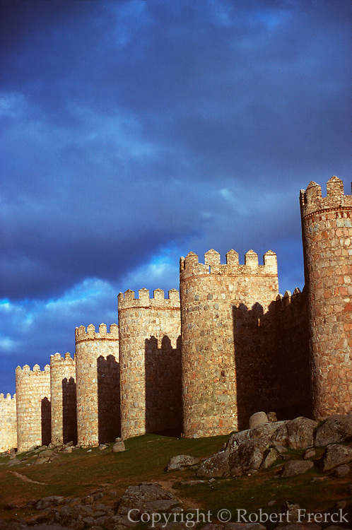 SPAIN, CASTILE, AVILA medieval walls encircle the town