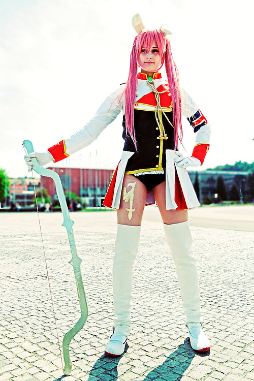 Cosplayer at the Anime fest 2012 in the city of Brno. Animefest is the oldest and largest anime and manga convention in the Czech Republic with around 2000 attendees in 2012. The festival offers a mix of contests (e.g. cosplay and AMV)