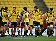 Hurricanes players reflect on the win. Super 15 rugby match - Hurricanes v Lions at Westpac Stadium, Wellington, New Zealand on Saturday, 4 June 2011. Photo: Dave Lintott / photosport.co.nz