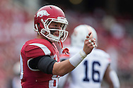 FAYETTEVILLE, AR - OCTOBER 24:  Drew Morgan #80 of the Arkansas Razorbacks signals to the sidelines during a game against the Auburn Tigers at Razorback Stadium on October 24, 2015 in Fayetteville, Arkansas.  The Razorbacks defeated the Tigers in 4 OT's 54-46.  (Photo by Wesley Hitt/Getty Images) *** Local Caption *** Drew Morgan