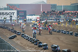 "Motocross Racing in the ""Moto Live"" outdoor exhibition area during EICMA, the largest international motorcycle exhibition in the world. Milan, Italy. November 21, 2015.  Photography ©2015 Michael Lichter."