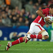 Toby Faletau, Wales, in action during the Wales V France Semi Final match at the IRB Rugby World Cup tournament, Eden Park, Auckland, New Zealand, 15th October 2011. Photo Tim Clayton...