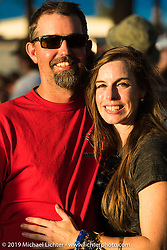Ben Jordan and Heather Quinn near the stage Saturday at the Smokeout. Rockingham, NC. USA. June 20, 2015.  Photography ©2015 Michael Lichter.