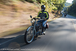 Steve Decosa of NY on his 1915 Harley-Davidson during the Motorcycle Cannonball Race of the Century. Stage-3 from Morgantown, WV to Chillicothe, OH. USA. Monday September 12, 2016. Photography ©2016 Michael Lichter.