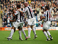 Photo: Rich Eaton.<br /> <br /> West Bromwich Albion v Leeds United. Coca Cola Championship. 30/09/2006. Martin Albrechtsen on the far left for West Brom celebrates scoring the first goal of the game