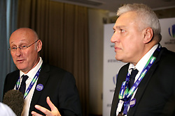 French Rugby Federation president Bernard Laporte (left) and bid president Claude Atcher (right) during the 2023 Rugby World Cup host union announcement at The Royal Garden Hotel, Kensington.