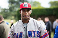 Wide receiver Victor Cruz of the New York Giants during the New York Giants Press Day  at Syon House, Brentford, United Kingdom on 21 October 2016. Photo by Jason Brown.