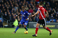 Omar Bogle of Cardiff city (l) in action. .EFL Skybet championship match, Cardiff city v Ipswich Town at the Cardiff city stadium in Cardiff, South Wales on Tuesday 31st October 2017.<br /> pic by Andrew Orchard, Andrew Orchard sports photography.