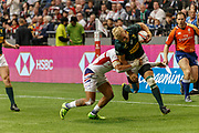 VANCOUVER, BC - MARCH 11: Folau Niua (#7) of USA tackles Ryan Oosthuizen (#1) of South Africa during Game # 44- South Africa vs Usa Bronze Medal Match match at the Canada Sevens held March 11, 2018 in BC Place Stadium in Vancouver, BC. (Photo by Allan Hamilton/Icon Sportswire)